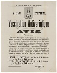 République française. Ville d'Epinal. Vaccination Antivariolique. Avis. En…