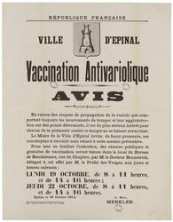 République française. Ville d'Epinal. Vaccination Antivariolique. Avis. En…