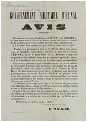 Gouvernement militaire d'Epinal. Avis. Un certain nombre d'habitants d'Epi…
