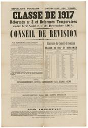 République française. Préfecture des Vosges. Classe de 1917, réformés n° 2…