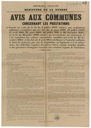 République française. Ministère de la Guerre. Avis aux communes concernant…