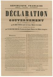 République française... Déclaration du gouvernement lue, le 3 novembre 191…