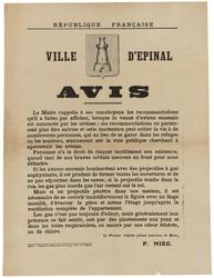 République française. Ville d'Epinal. Avis. Le Maire rappelle à ses concit…