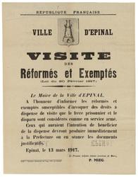 République française. Ville d'Epinal. Visite des réformés et exemptés...di…