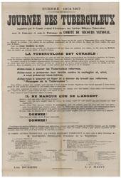 Guerre 1914-1917. Journée des tuberculeux organisée par le Comité central …