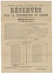 République française. Préfecture des Vosges. Réserves pour la reproduction…