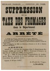 République française. Préfecture des Vosges. Suppression de la taxe des fr…