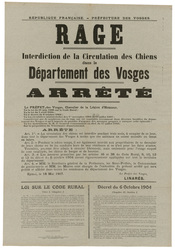 République française. Préfecture des Vosges. Rage. Interdiction de la Circ…