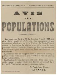 République française. Préfecture des Vosges. Avis aux populations... la fa…