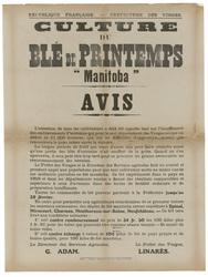 """République française. Préfecture des Vosges. Culture du blé de printemps """"…"""