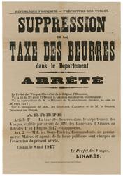 République française. Préfecture des Vosges. Suppression de la taxe des be…