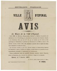 République française. Ville d'Epinal. Avis. Le Maire de la Ville d'Epinal,…