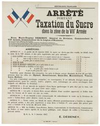République française. Arrêté portant taxation du sucre dans la zone de la …