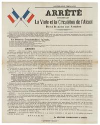 République française. Arrêté concernant la vente et la circulation de l'al…