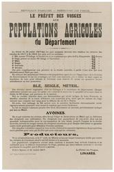 République française. Préfecture des Vosges. Le Préfet des Vosges aux popu…