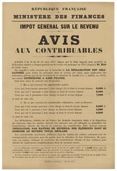 République française. Ministère des finances. Impôt général sur le revenu.…