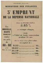 République française. Ministère des finances. 3e emprunt de la défense nat…