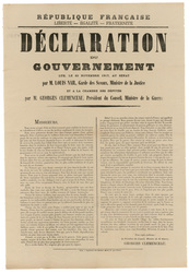République française... Déclaration du gouvernement lue, le 20 novembre 19…