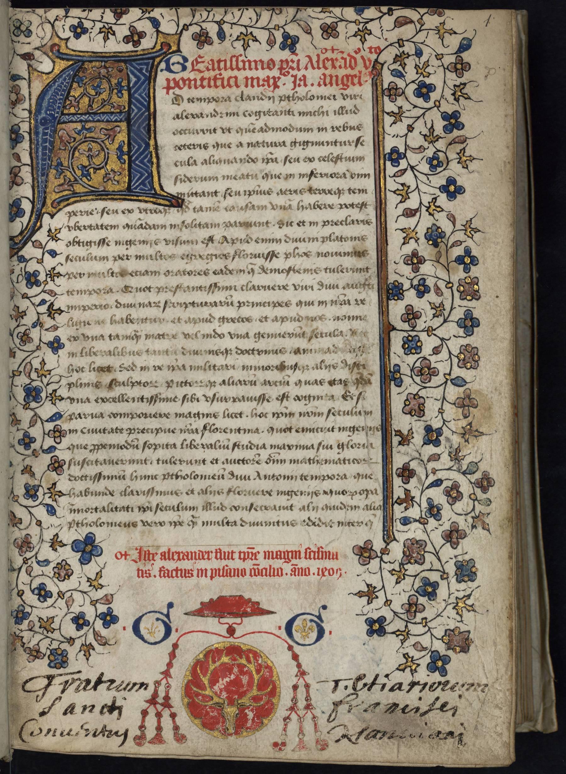 Contenu du Claudii Ptolemei cosmographiae libri VIII, latine versi a Jacobo Angelo Florentino