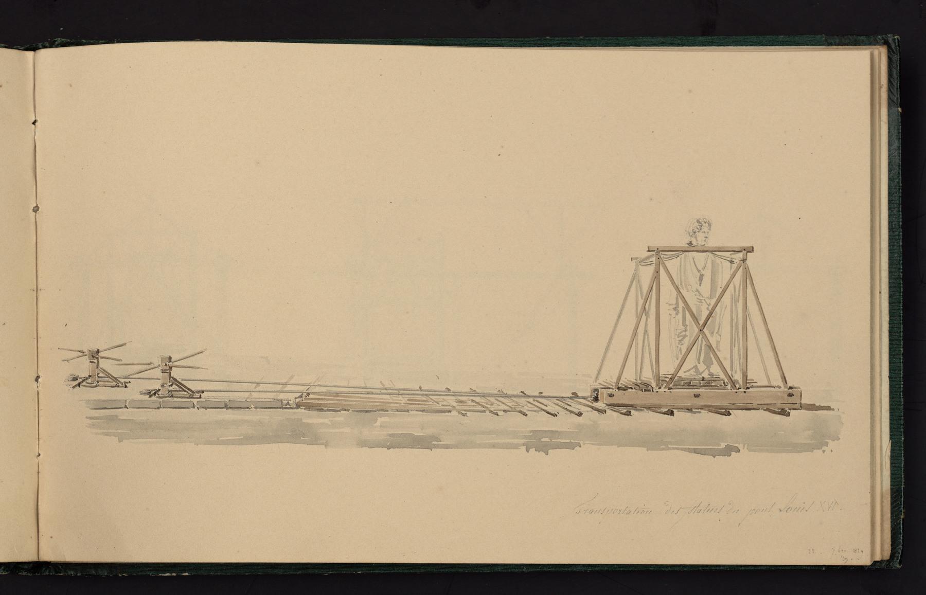 Contenu du Transportation des statues du pont Louis XVI
