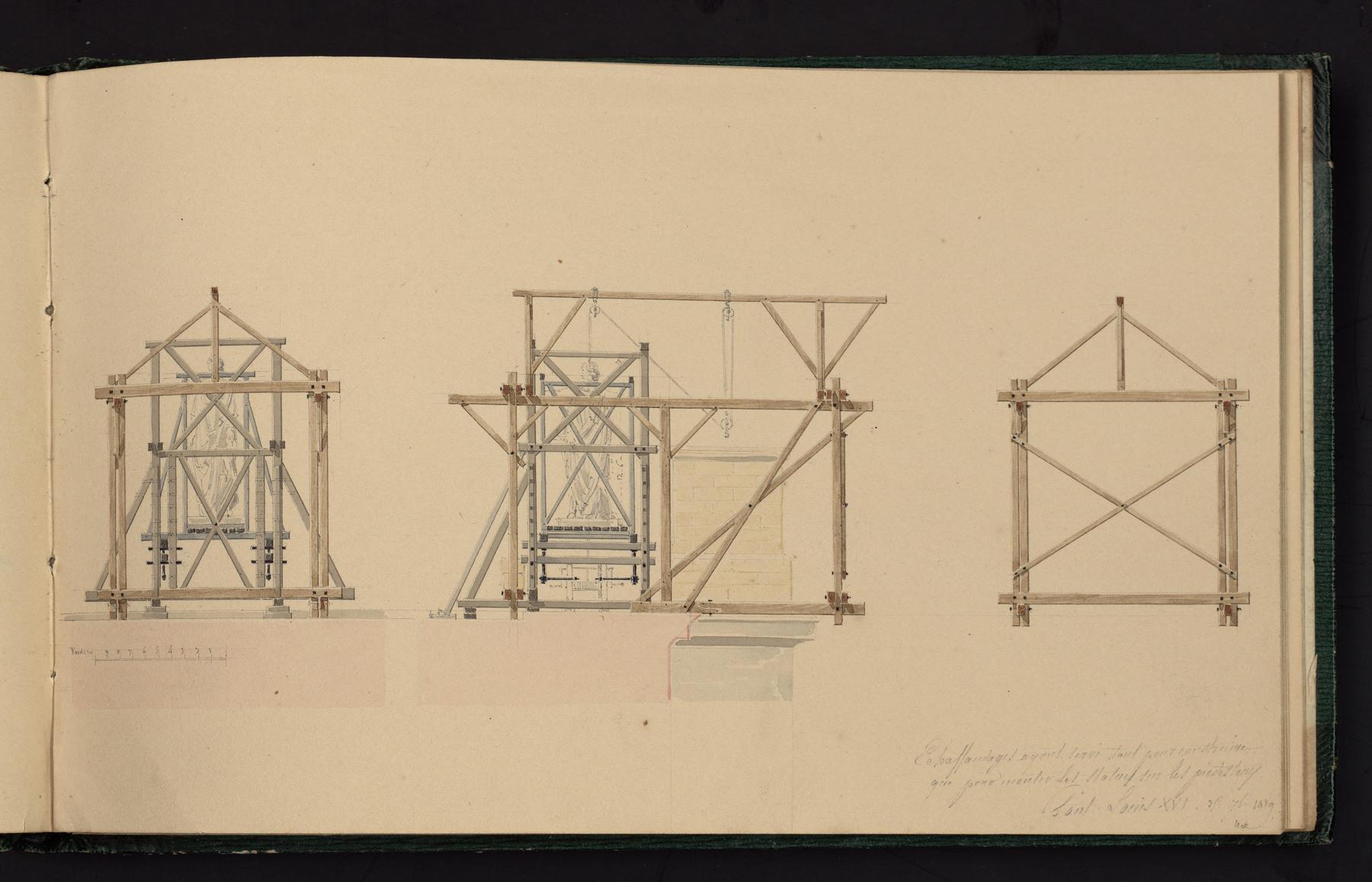 Contenu du Échafaudages ayant servi tant pour construire que pour monter les statues sur les piédestaux