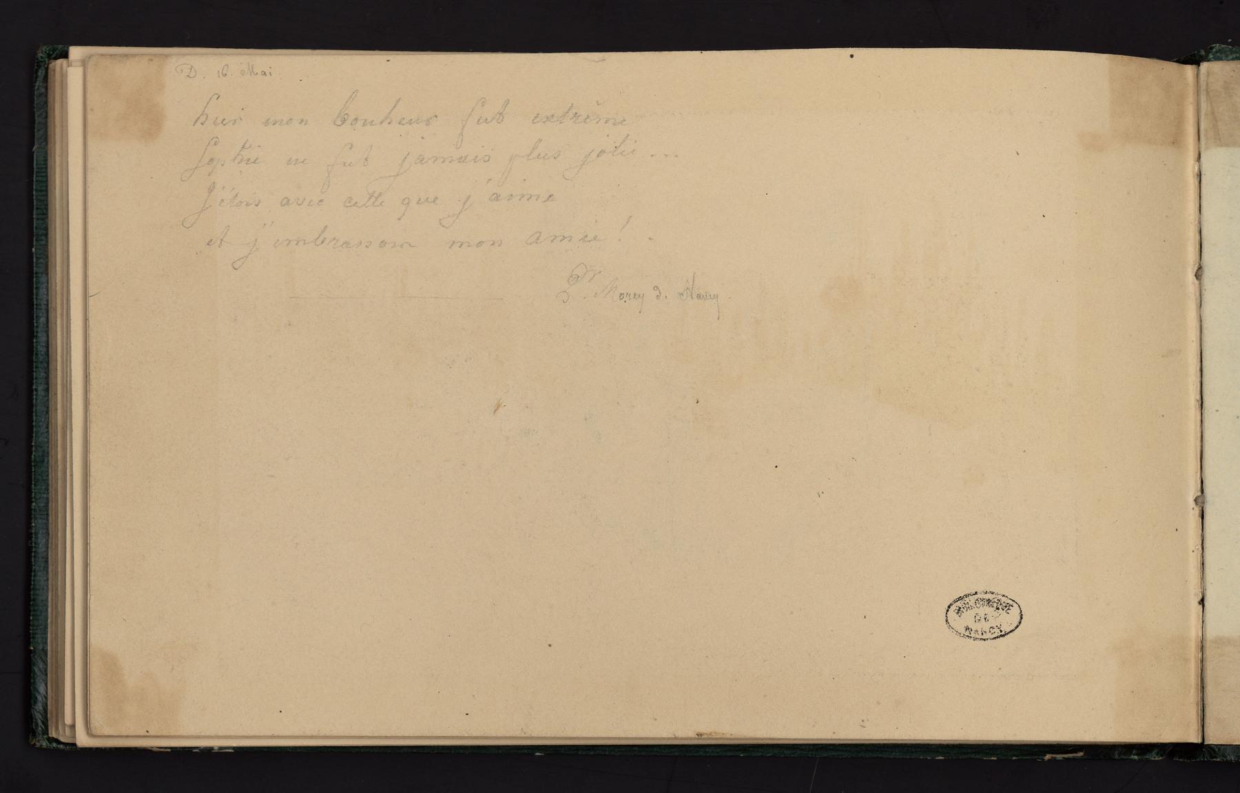 Contenu du Texte manuscrit daté du 16 mai au verso d'un dessin