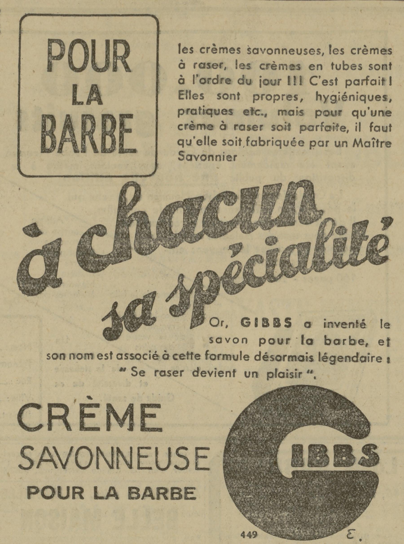 Contenu du Crème savonneuse pour la barbe Gibbs