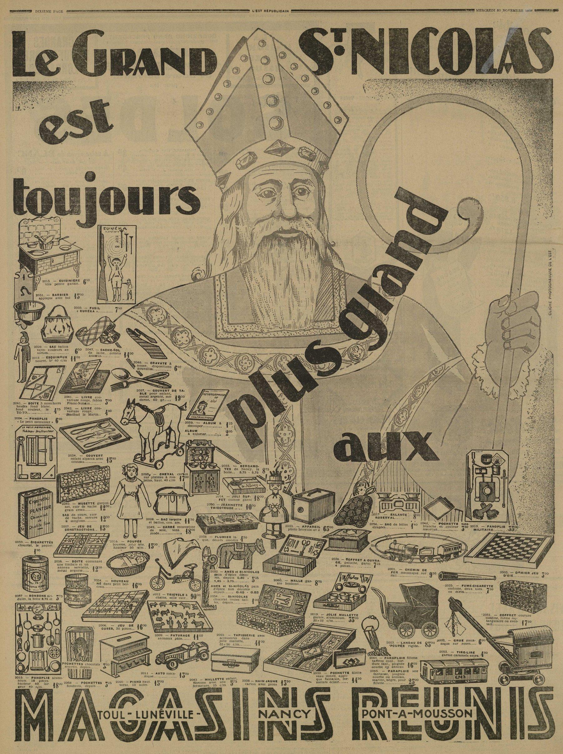 Contenu du Le grand Saint Nicolas est toujours plus grand aux Magasins Réunis