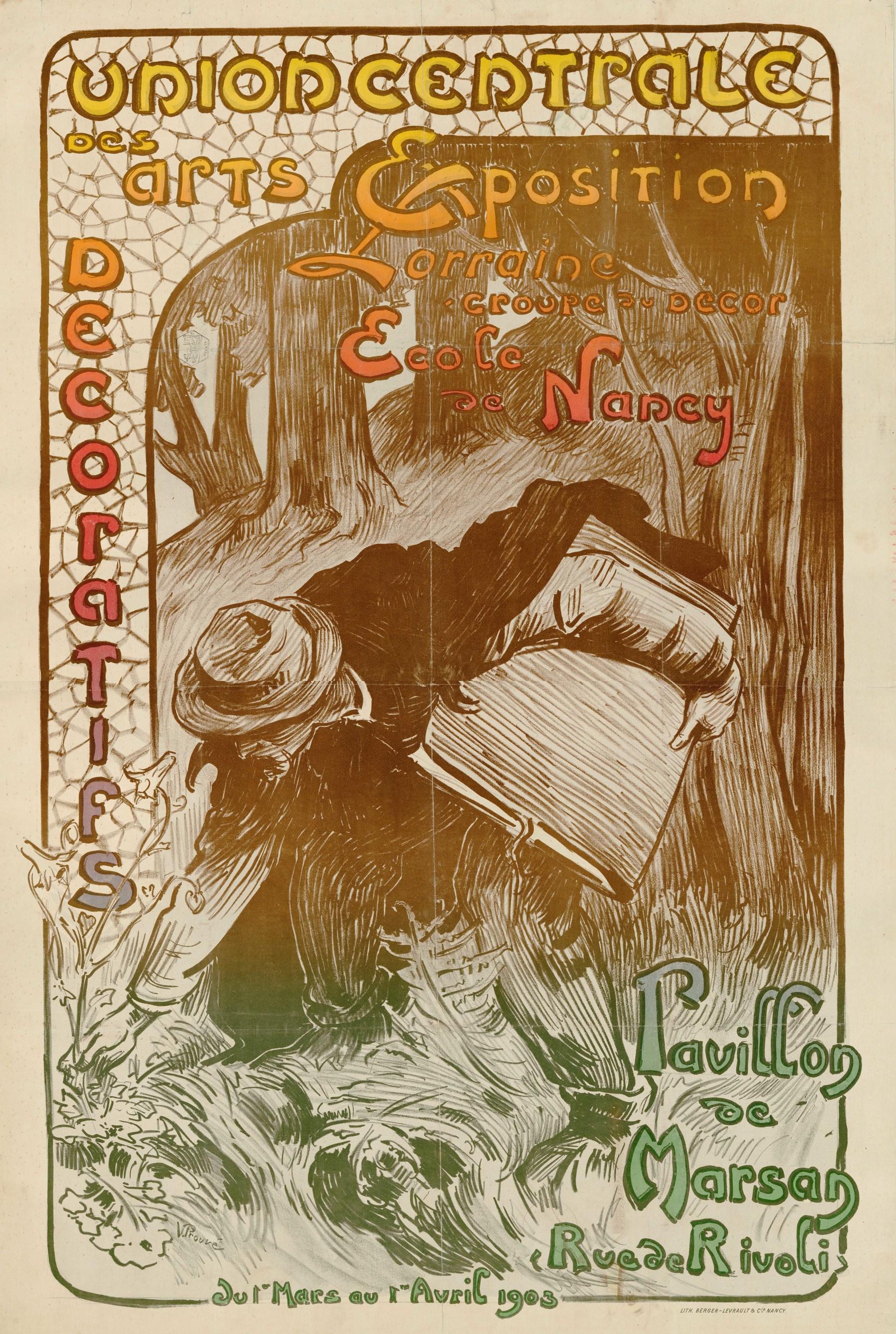Contenu du Affiche de l'exposition de l'Union centrale des arts décoratifs qui s'est tenue au Pavillon Marson à Paris du 1er mars au 1er avril 1903