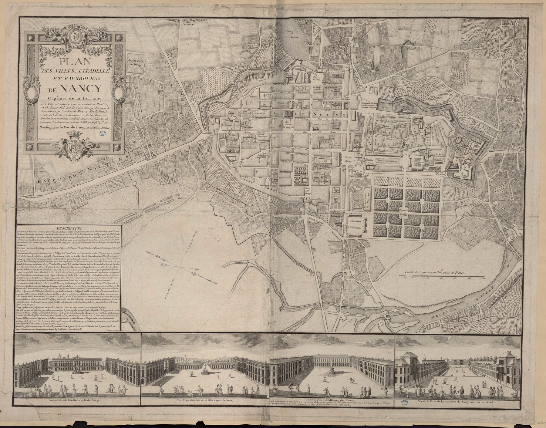 Contenu du Plan des villes, citadelle et faubourgs de Nancy, dédié à la Reine par... C. Mique, architecte de feu Roi de Pologne à Nancy