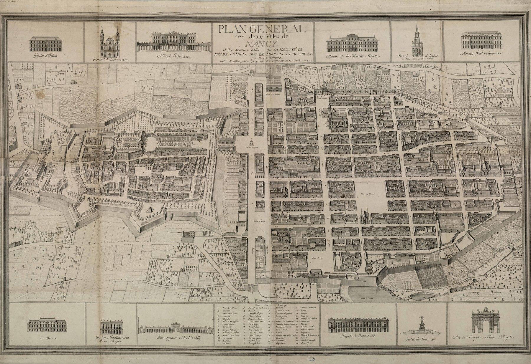 Contenu du Plan général des deux villes de Nancy et des nouveaux édifices que sa majesté le Roy de Pologne Duc de Lorraine et de Bar y a fait construire. Levé par Belprey en 1754