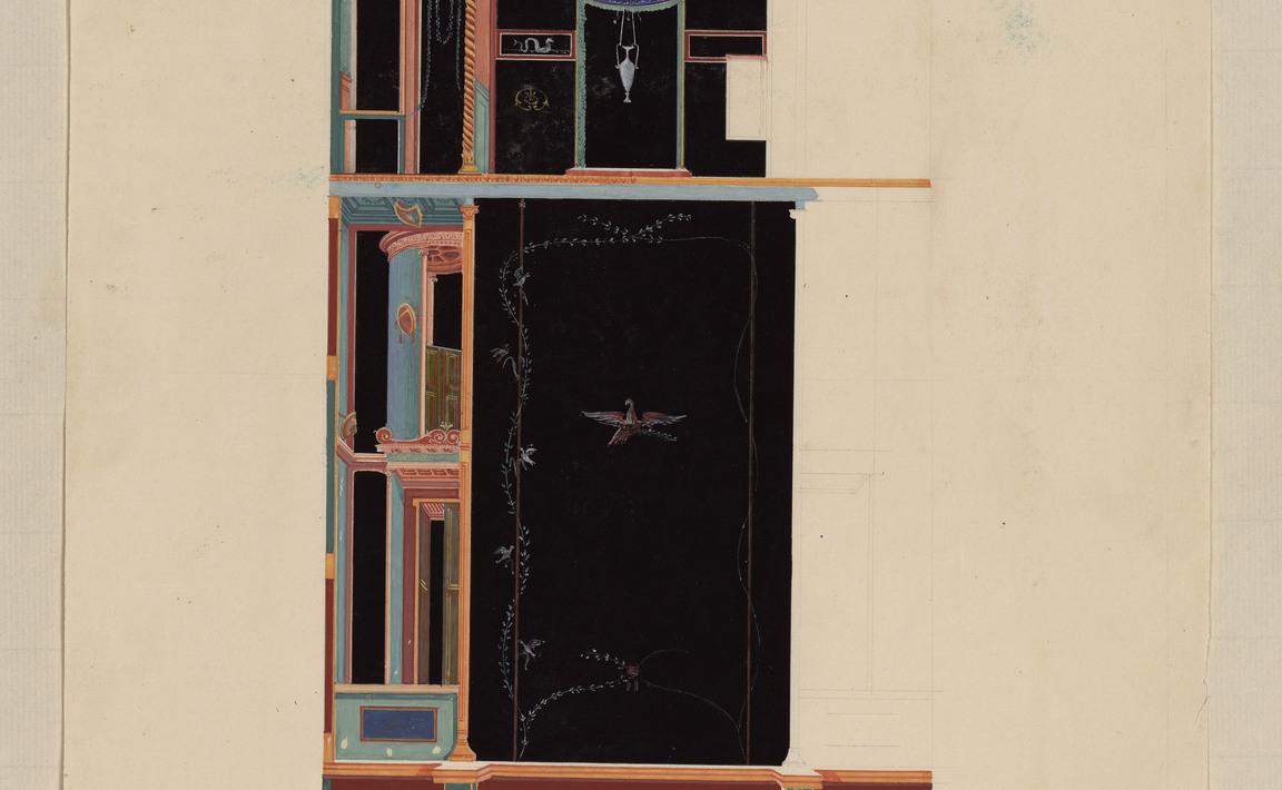 Contenu du Peinture sur fond noir de la maison de la 2e fontaine ?