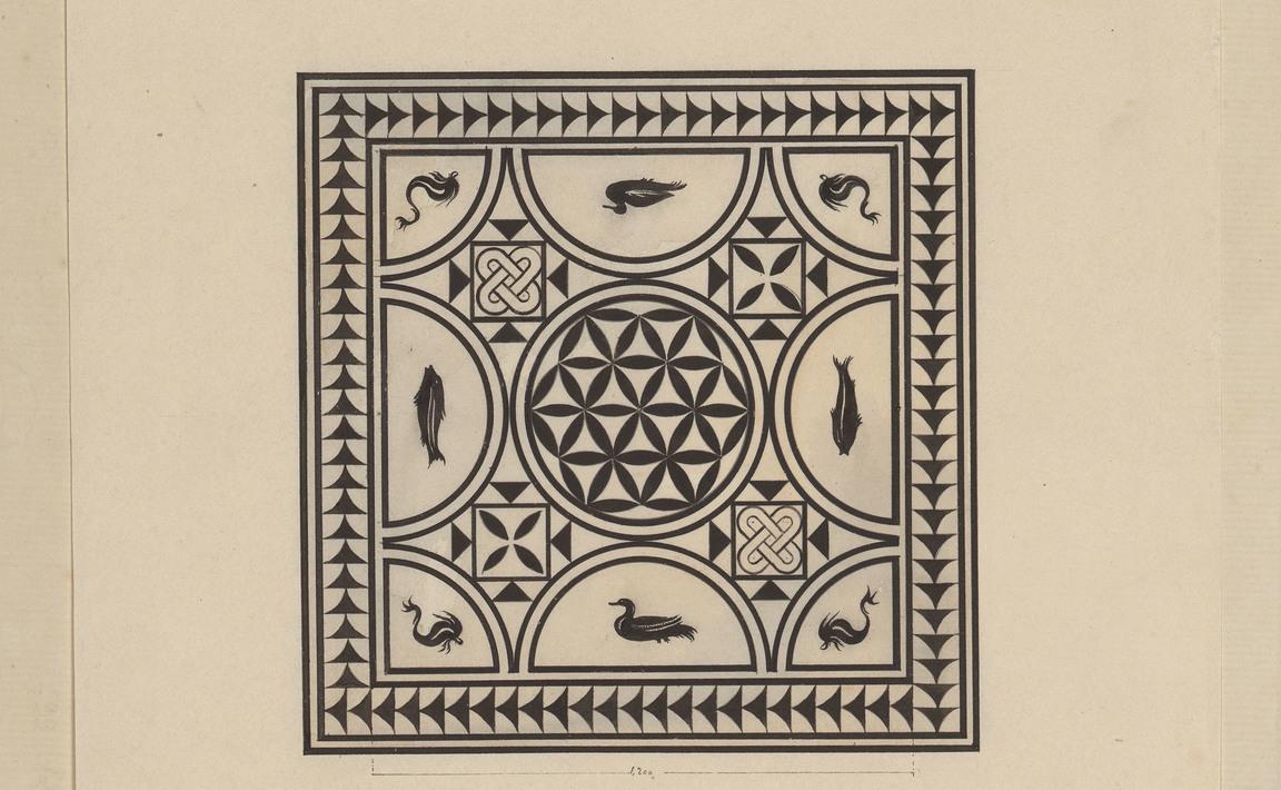 Contenu du Pompéi. Maison du poète tragique. Mosaïque en marbre blanc et noir