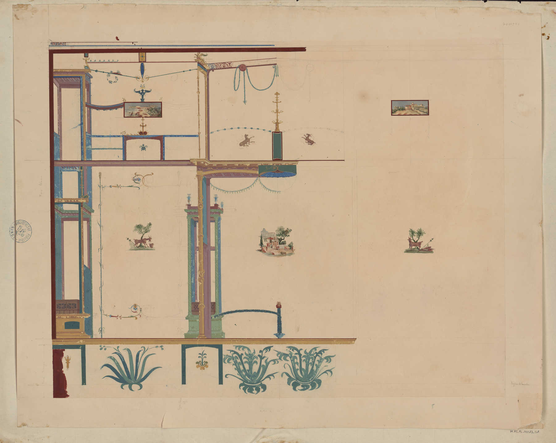 Contenu du Fresque d'un mur d'un édifice de Pompéi