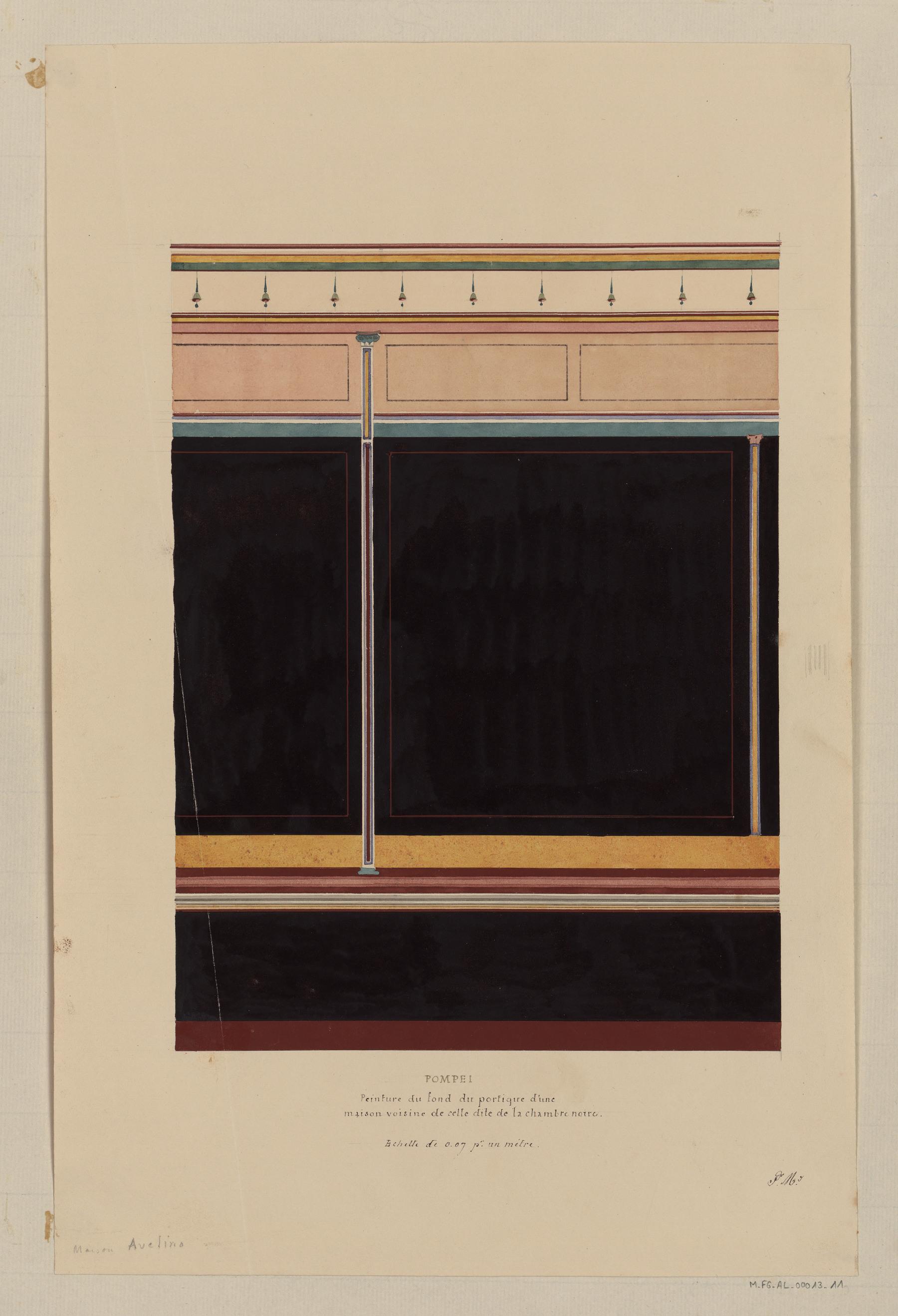 Contenu du Pompéi, peinture du fond du portique d'une maison voisine de celle dite de la chambre noire