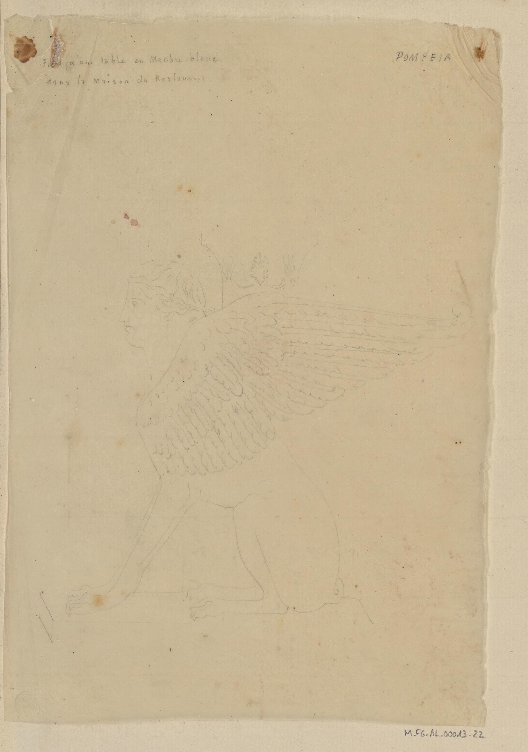 Contenu du Pompéia, pied d'une table en marbre blanc dans la maison du restaurant
