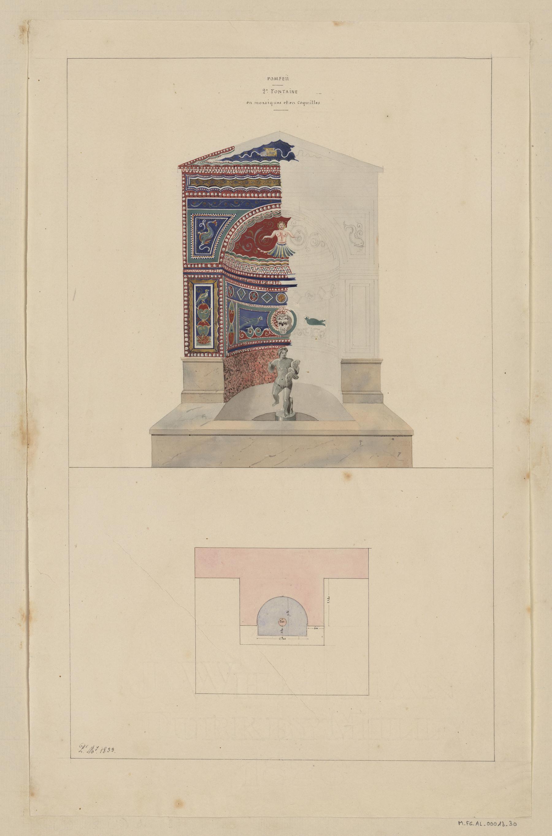 Contenu du PompéII, deuxième fontaine en mosaïques et en coquilles