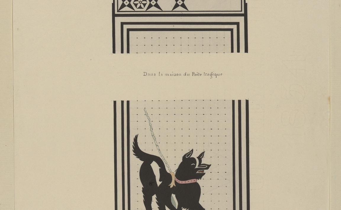 Contenu du Pompéia, dans la maison du poète tragique, Cave Canem