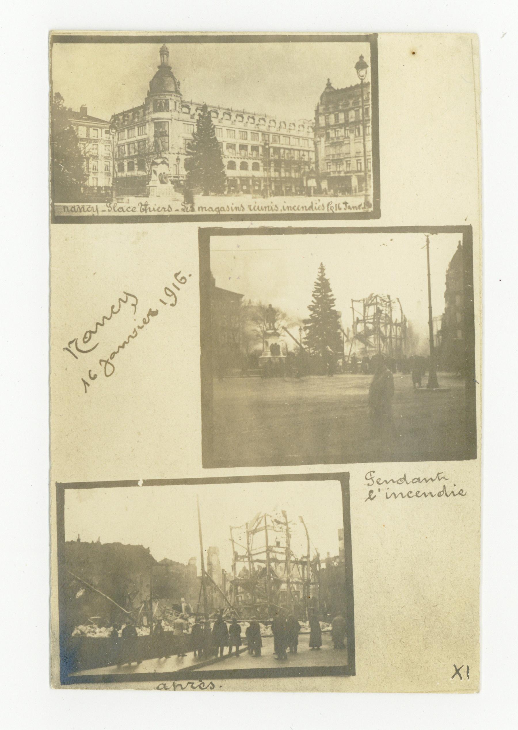 Contenu du Les magasins réunis incendiés le 16 janv 1916.