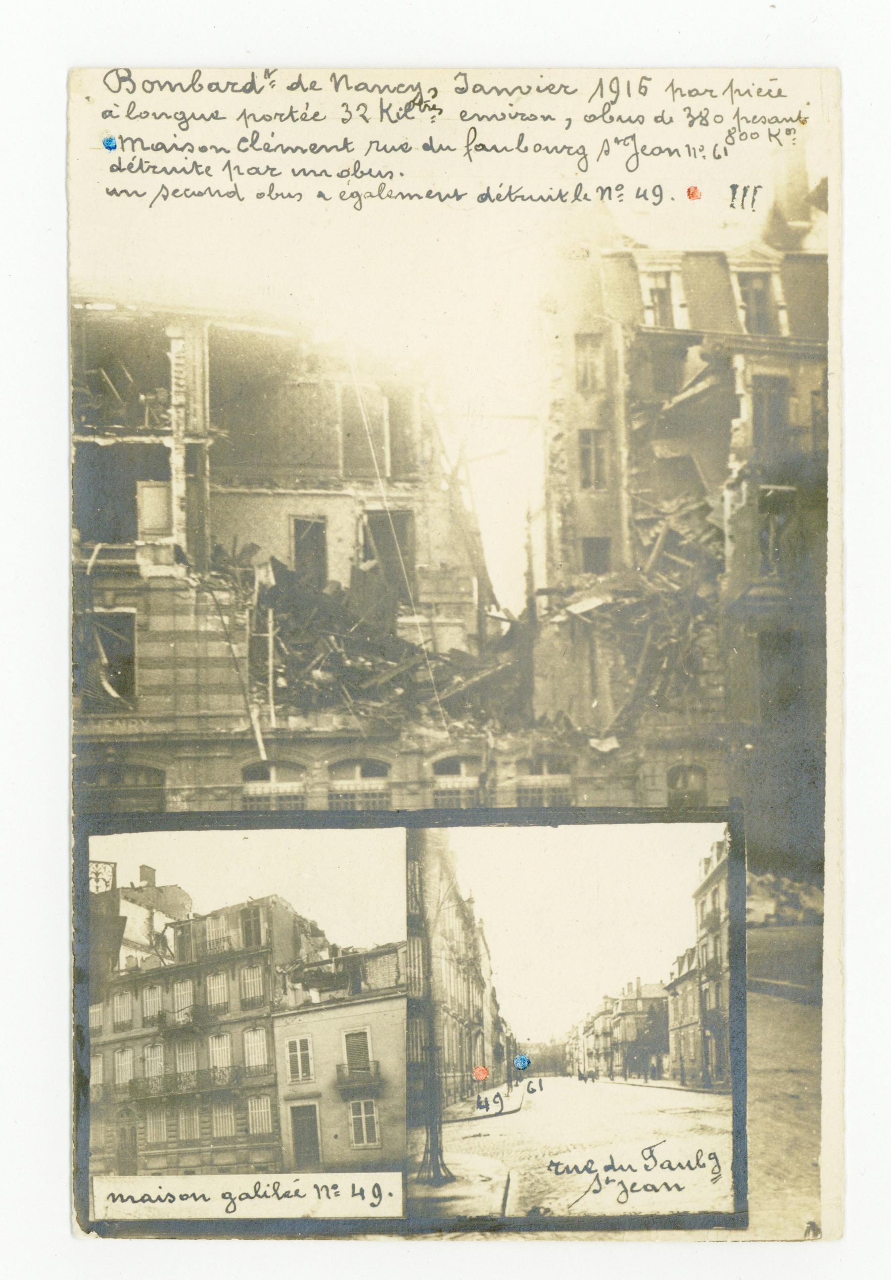 Contenu du Bombardement de janvier 1916, rue du Faubourg St-Jean.