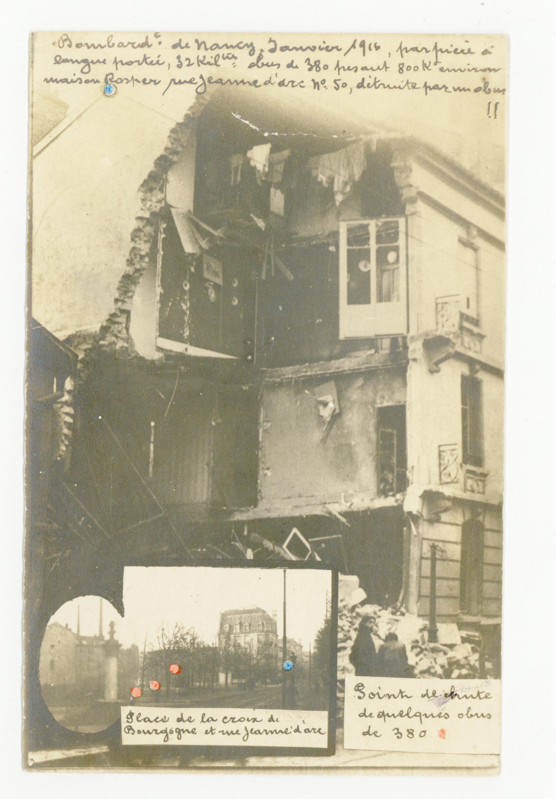 Contenu du Bombardement de janvier 1916, rue Jeanne d'Arc.