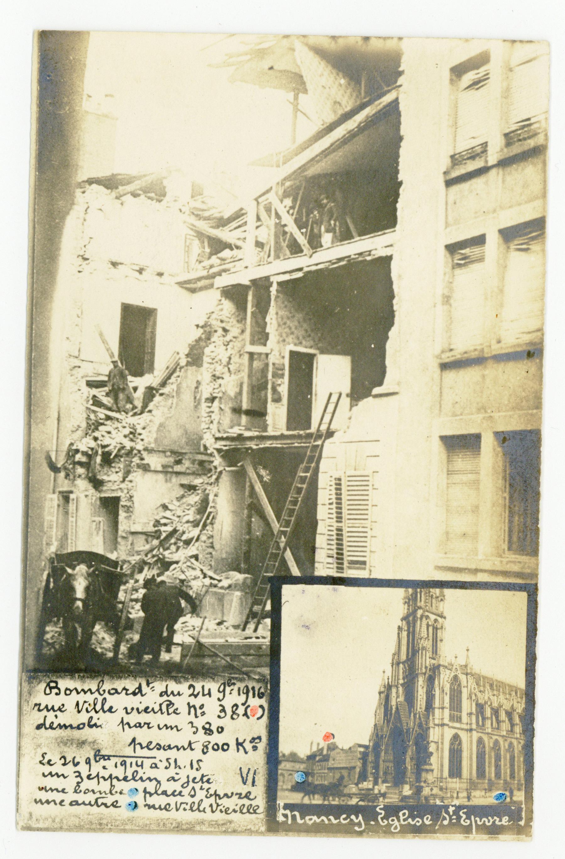 Contenu du Bombardements des mois de septembre 1914 et 1916, quartier St-Epvre.
