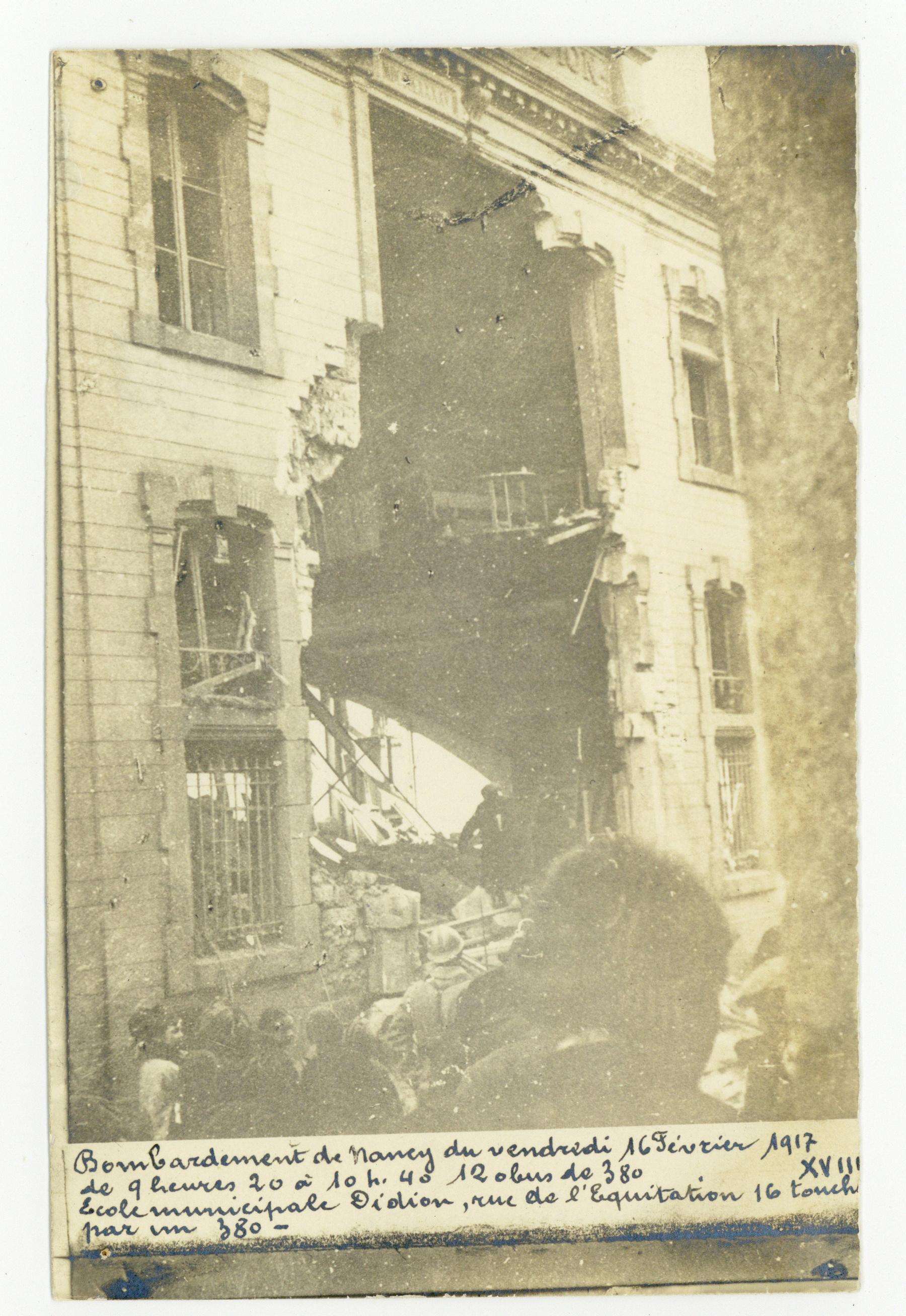 Contenu du Bombardement de février 1917, école Didion.