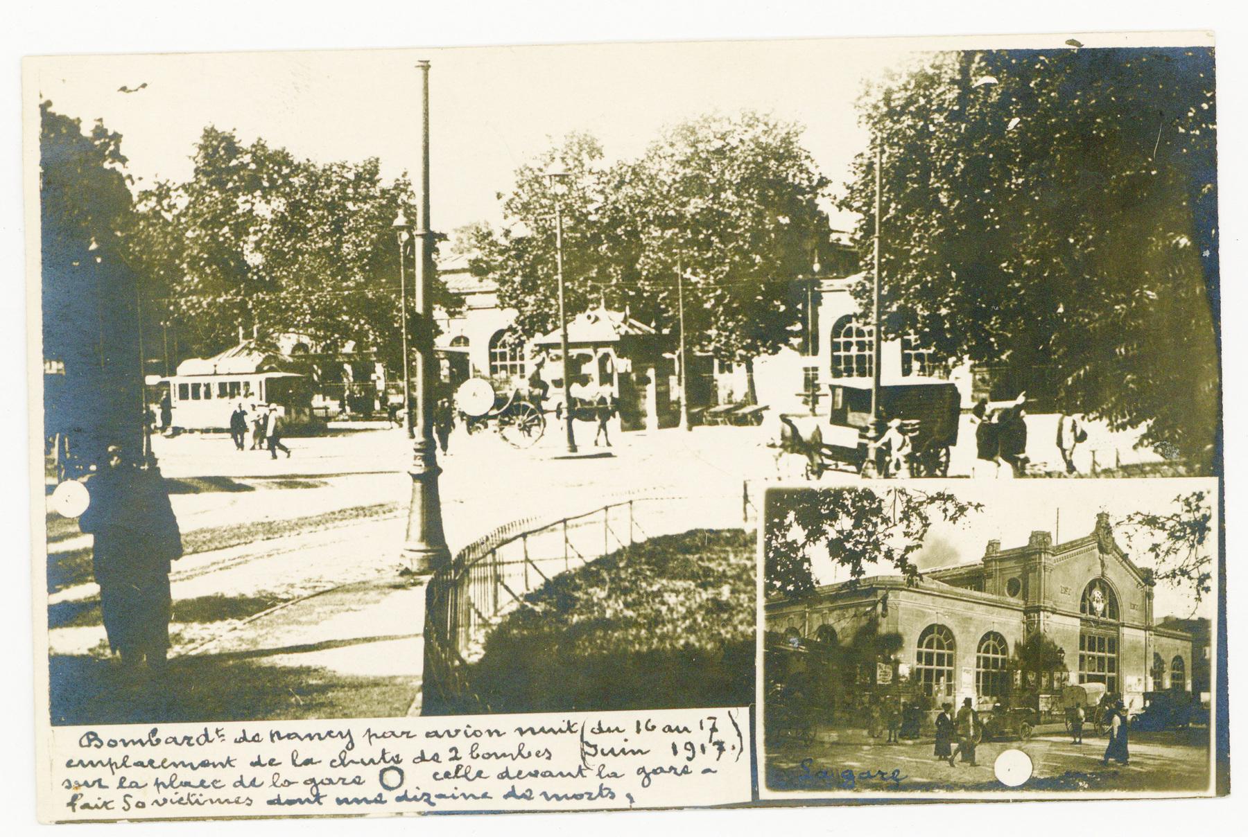 Contenu du Bombardement de juin 1917, place de la Gare.