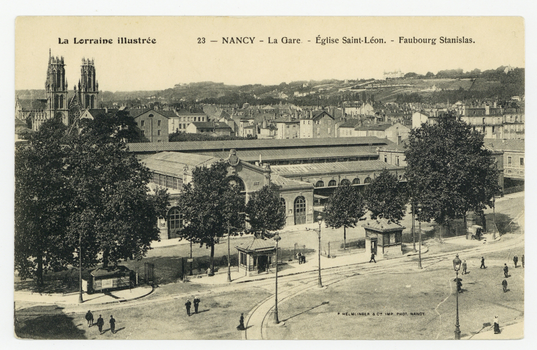 Contenu du Nancy. La Gare  Église Saint-Léon. Faubourg Stanislas. La Lorraine Illustrée.