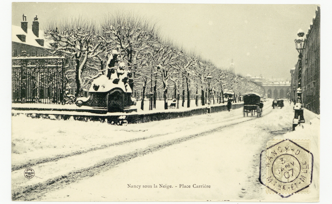 Contenu du Nancy - la place Carrière sous la neige