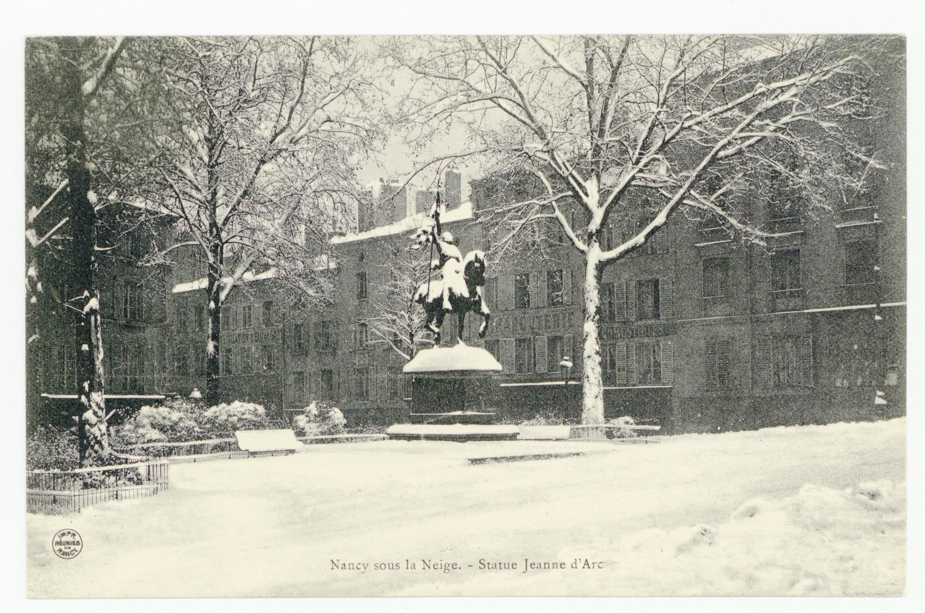Contenu du Nancy sous la neige : statue de Jeanne d'Arc