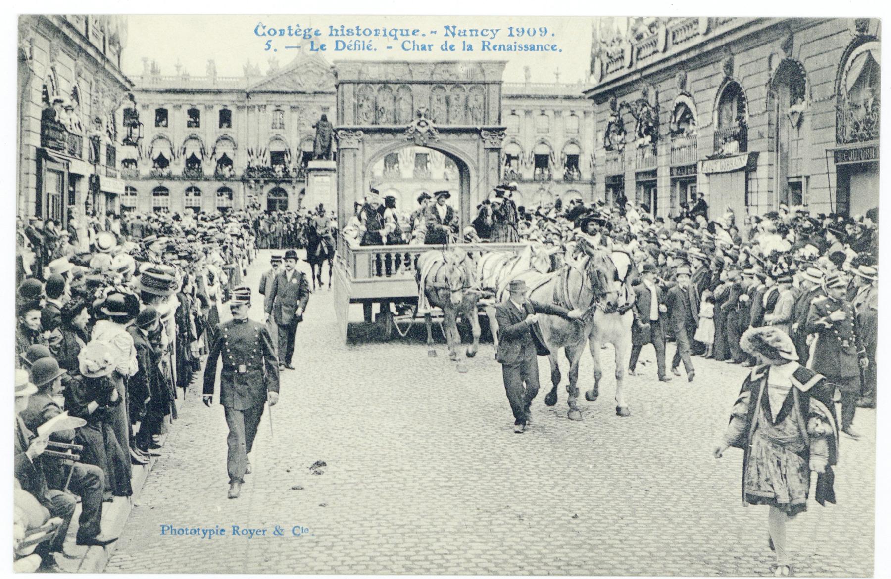Contenu du Le Défilé. - Char de la Renaissance.  Cortège historique. - Nancy 1909.
