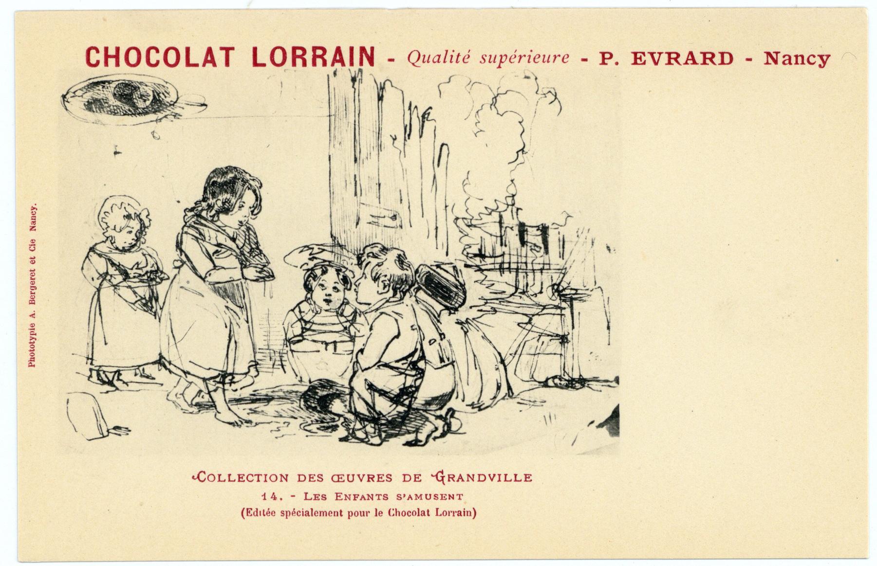 Contenu du Les enfants s'amusent : (éditée spécialement pour le Chocolat Lorrain), chocolat lorrain, qualité supérieure, P. Evrard, Nancy. Collection des œuvres de Grandville