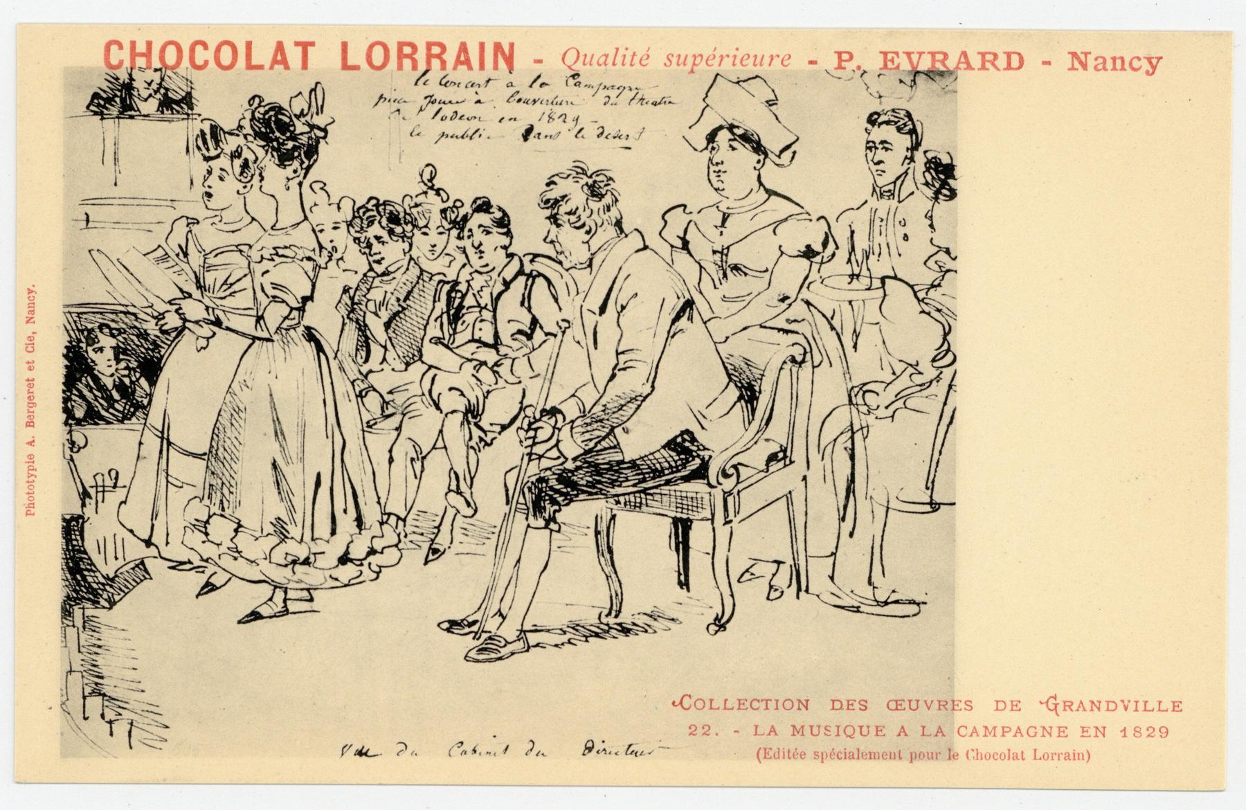Contenu du La musique à la campagne en 1829 : (éditée spécialement pour le Chocolat Lorrain), chocolat lorrain, qualité supérieure, P. Evrard, Nancy. Collection des œuvres de Grandville
